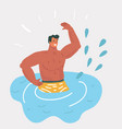 man swimming in the pool vector image