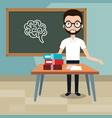 man teacher in the classroom vector image vector image