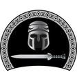 medieval helmet with sword second variant vector image vector image