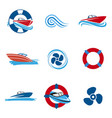 motor boat icons set vector image