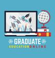 online education graduate flat concept vector image