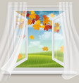 open window and autumn landscape vector image
