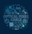 optical fiber cable round blue linear vector image vector image