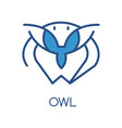 owl logo design blue label badge or emblem vector image