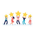 people hold rating stars customer feedback vector image