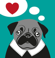pug love card hipster funny valentines birthday vector image