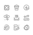 set line icons data recovery vector image vector image
