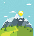 summer mountain with snow-covered peaks vector image vector image