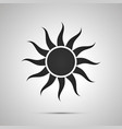 sun with curved rays simple black icon with vector image