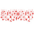 various hanging christmas ornaments on border vector image vector image