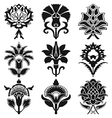 vintage set oriental flowers pattern isolated vector image