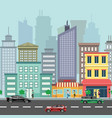 the landscape of the modern city with cars vector image