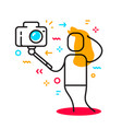 a beautiful girl taking selfie using a stick cool vector image