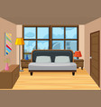 a bedroom in the high apartment vector image vector image