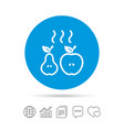 apple and pear icon baked hot fruits symbol vector image