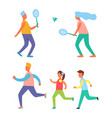 badminton and jogging hobby vector image vector image
