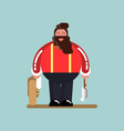 big lumberjack standing with jacket and axe vector image