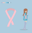 breast cancer ribbon flat vector image vector image