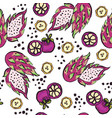 bright seamless pattern with hand drawn fruits vector image vector image