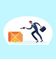 businessman holding key padlock suitcase male vector image