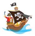 caricature with the image of a pirate on the ship vector image vector image