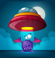 cartoon characters horror ufo vector image vector image