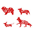 chinese red dogs paper cut vector image vector image