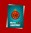 christmas card with red background and snow vector image vector image