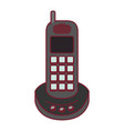 colorful graphic of cordless phone with dark red vector image vector image