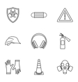 Construction ground icons set outline style vector image vector image