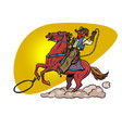 cowboy on a horse with a lasso vector image