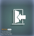 Door Enter or exit icon sign On the blue-green vector image
