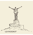 Drawn man leadership winner concept sketch vector image vector image