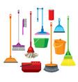 dustpans brooms mops cleaner supplies vector image