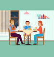 family people dining at home living room domestic vector image vector image