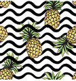 fruit wave seamless pattern with pineapple food vector image vector image