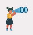 girl explorer with binoculars vector image vector image