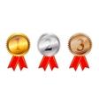 Golden silver bronze awards vector image