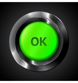 Green ok realistic plastic button vector image vector image