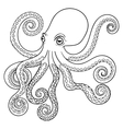 Hand drawn tribal Octopus animal totem for adult vector image vector image