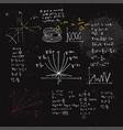 handwritten mathematical formulas and graphs vector image