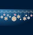 hanging christmas snowflake border vector image vector image