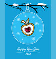 happy new year 2018 card with decoration and apple vector image