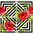 hibiscus and palm leaves painting tropical floral vector image