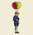 Kid with baloon vector image vector image