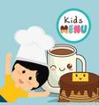kids menu card fresh delicious vector image vector image