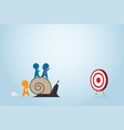 leader pushing snail with employee to dash board vector image vector image