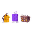 luggage set for travel cartoon vector image