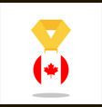 medal with the canada flag isolated on white vector image vector image