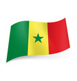 national flag of senegal green yellow and red vector image